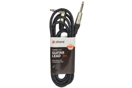 Chord Classic Retro Braided 3M Right Angled Guitar Lead Black/Blue